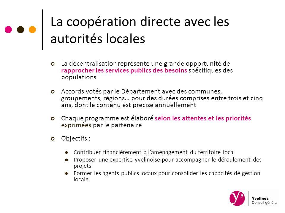 La coopération directe avec les autorités locales