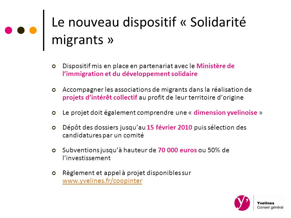 Le nouveau dispositif « Solidarité migrants »
