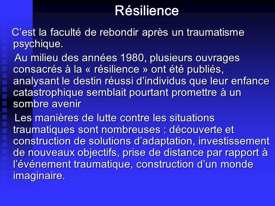 Résilience C'est la faculté de rebondir après un traumatisme psychique.