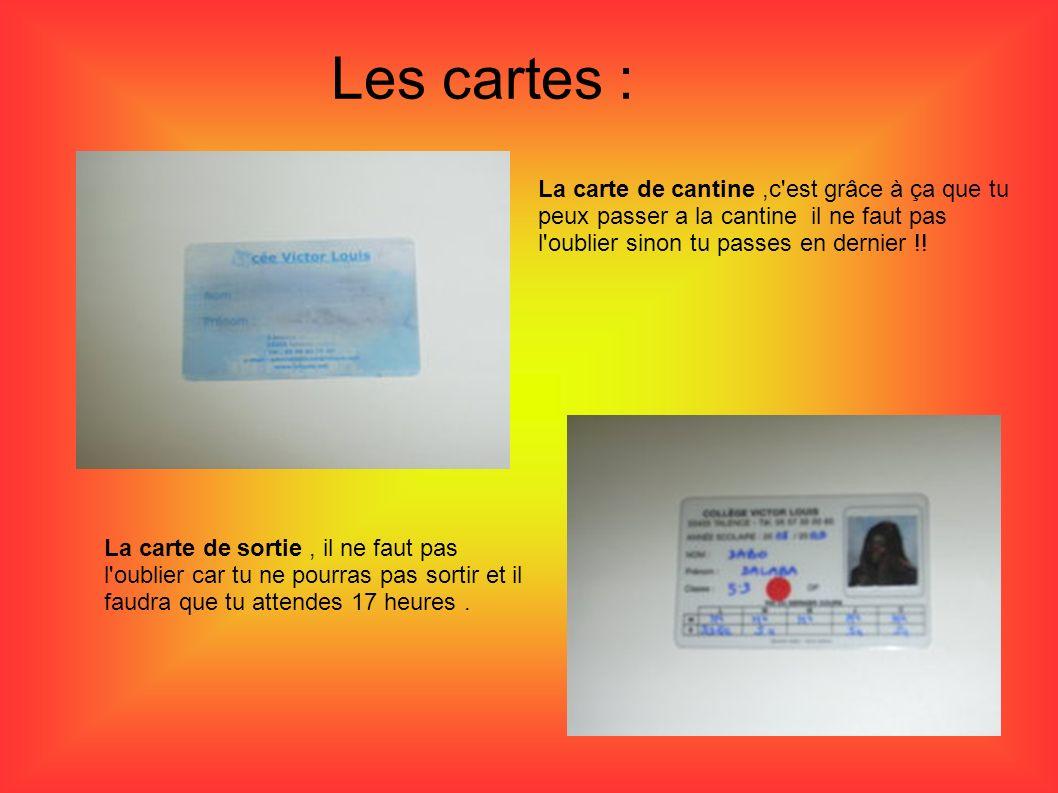 Les cartes : La carte de cantine ,c est grâce à ça que tu peux passer a la cantine il ne faut pas l oublier sinon tu passes en dernier !!