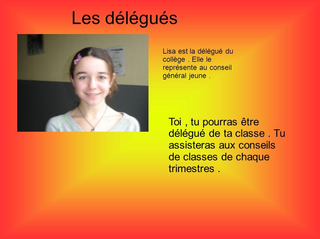Les délégués Lisa est la délégué du collège . Elle le représente au conseil général jeune .