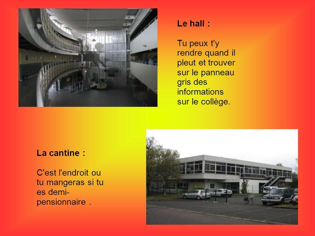 Le hall : Tu peux t y rendre quand il pleut et trouver sur le panneau gris des informations sur le collège.