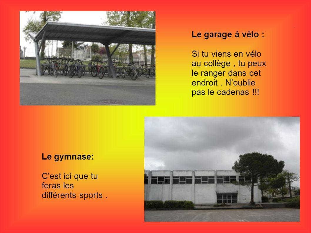 Le garage à vélo : Si tu viens en vélo au collège , tu peux le ranger dans cet endroit . N oublie pas le cadenas !!!