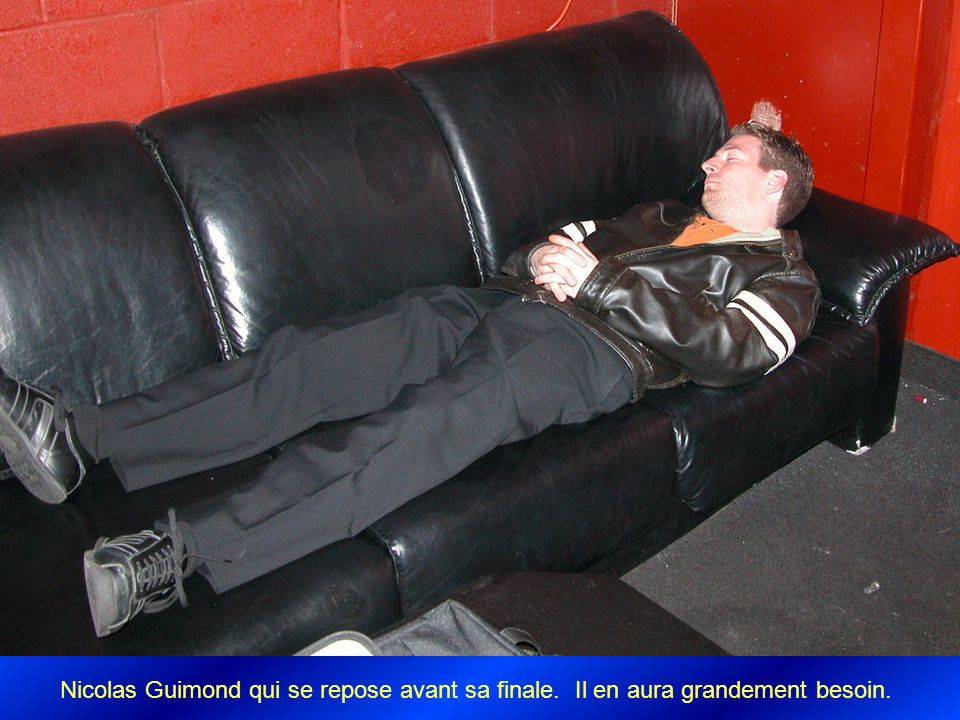 Nicolas Guimond qui se repose avant sa finale