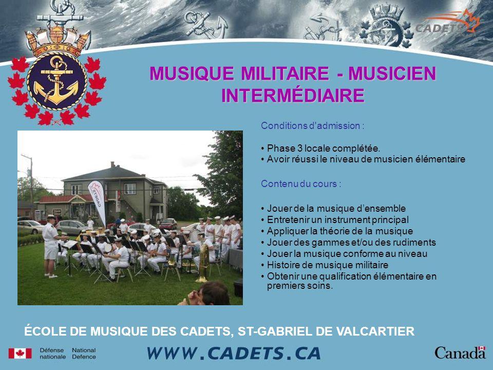 MUSIQUE MILITAIRE - MUSICIEN INTERMÉDIAIRE