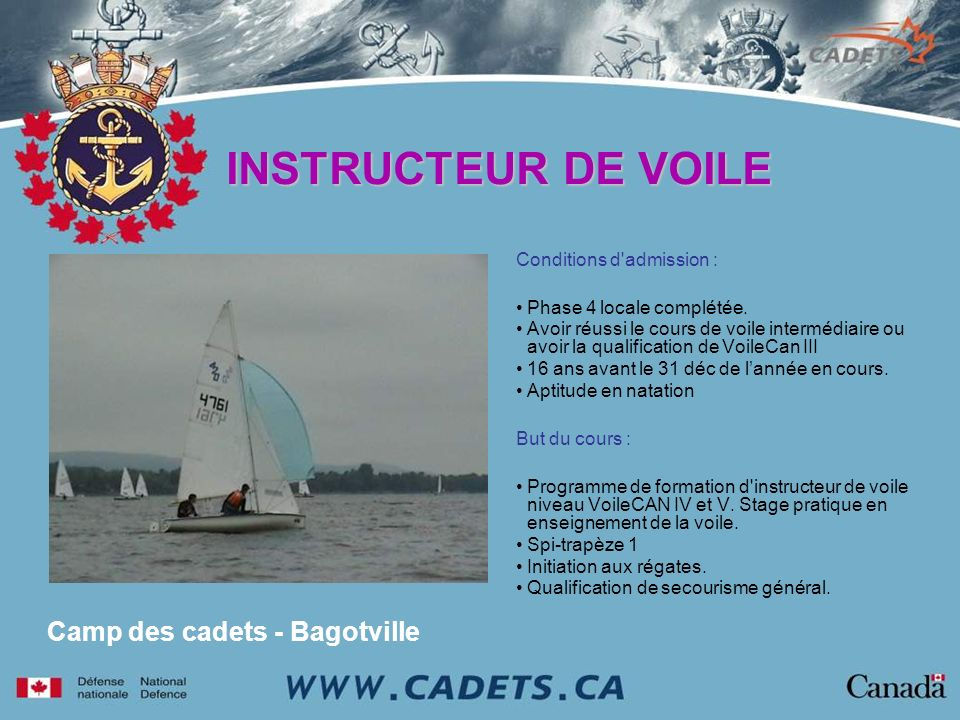 INSTRUCTEUR DE VOILE Camp des cadets - Bagotville