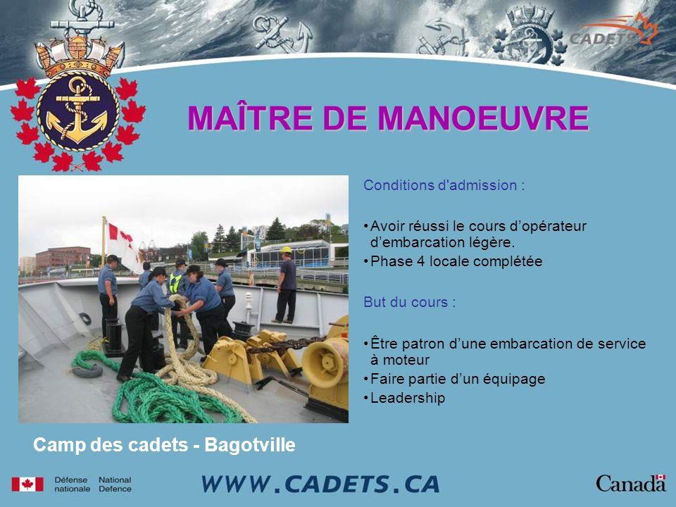 MAÎTRE DE MANOEUVRE Camp des cadets - Bagotville