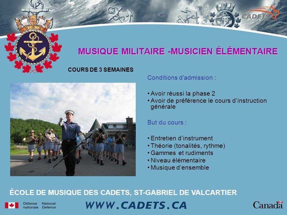 MUSIQUE MILITAIRE -MUSICIEN ÉLÉMENTAIRE