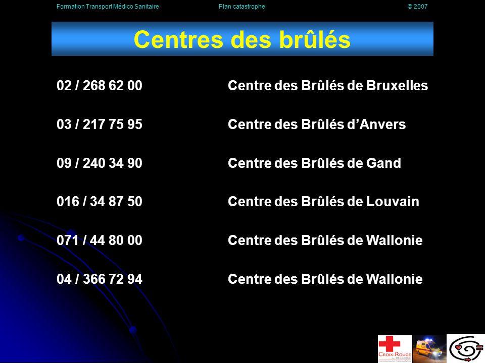 Centres des brûlés 02 / 268 62 00 Centre des Brûlés de Bruxelles