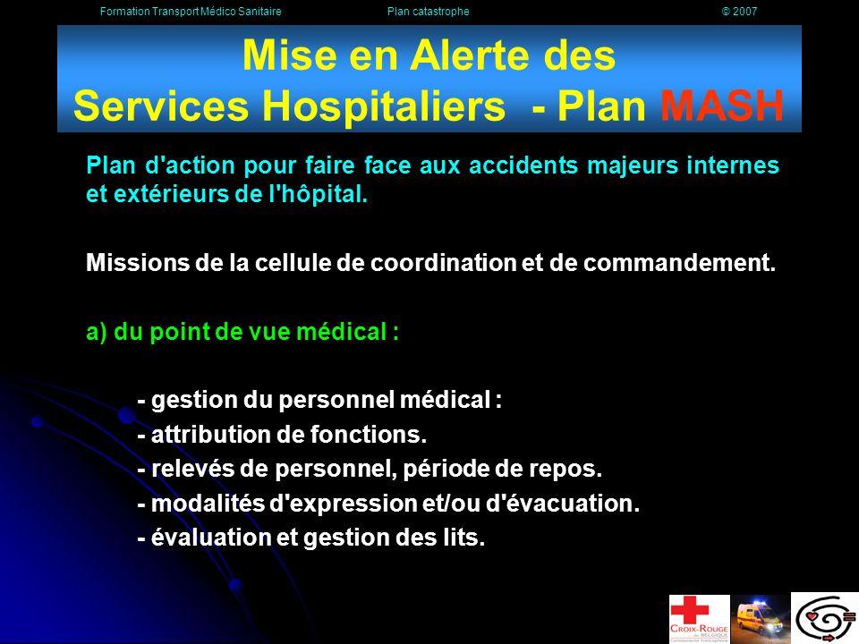 Mise en Alerte des Services Hospitaliers - Plan MASH
