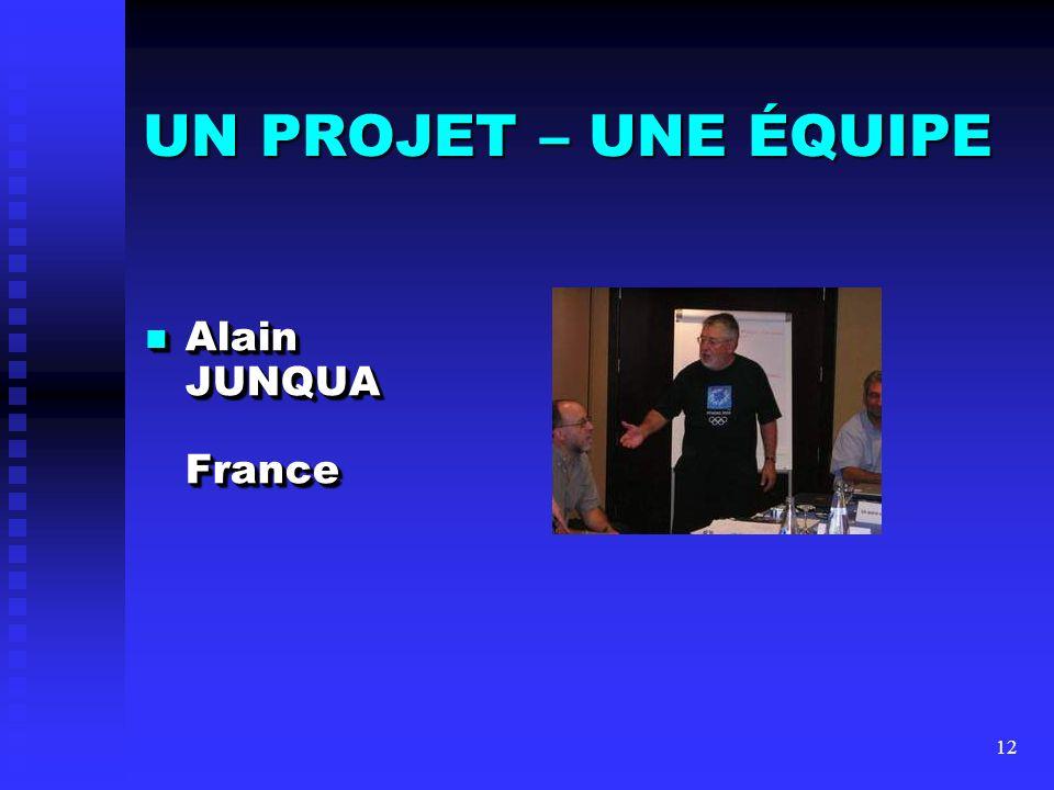 UN PROJET – UNE ÉQUIPE Alain JUNQUA France