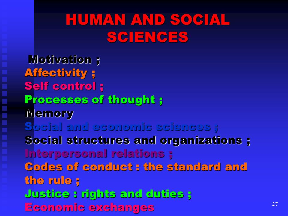 HUMAN AND SOCIAL SCIENCES