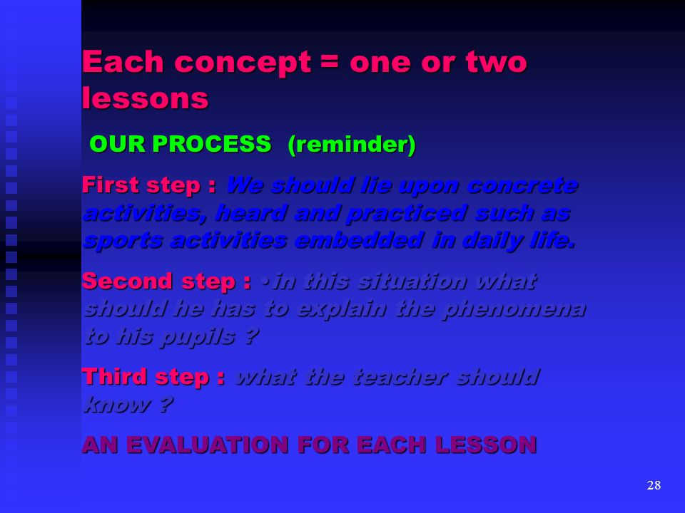 Each concept = one or two lessons