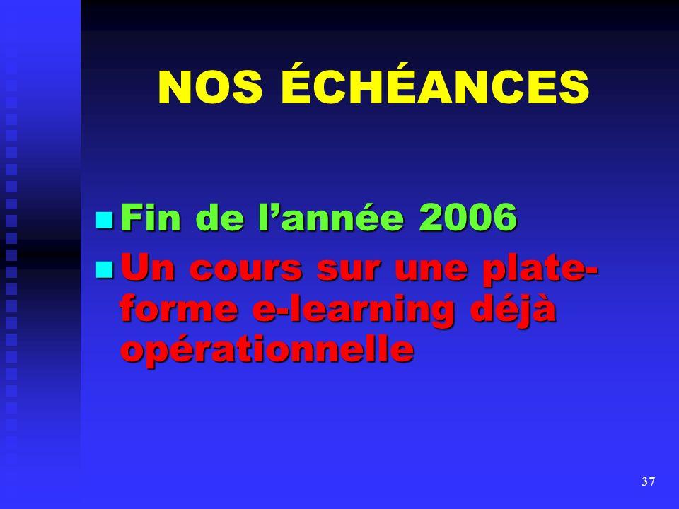 NOS ÉCHÉANCES Fin de l'année 2006