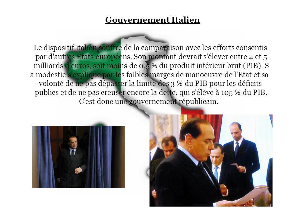 Gouvernement Italien Le dispositif italien souffre de la comparaison avec les efforts consentis.