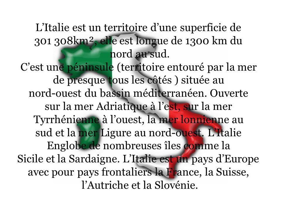 L'Italie est un territoire d'une superficie de