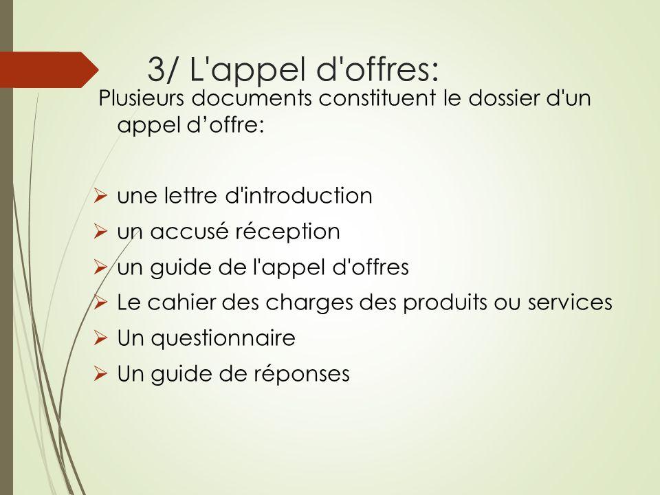 3/ L appel d offres: Plusieurs documents constituent le dossier d un appel d'offre: une lettre d introduction.