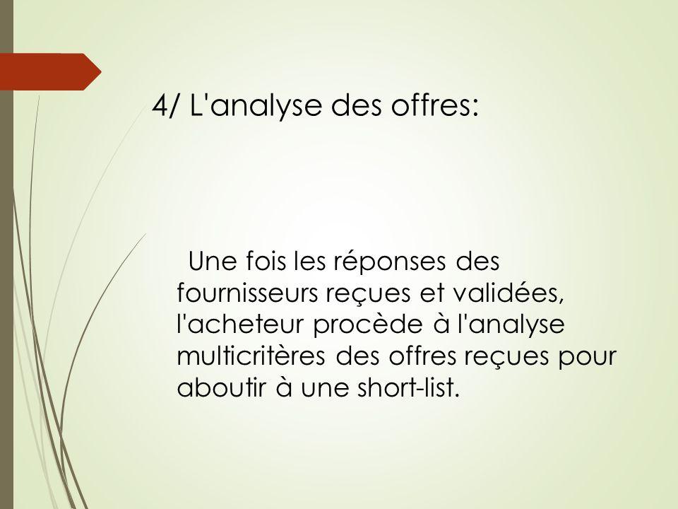 4/ L analyse des offres: