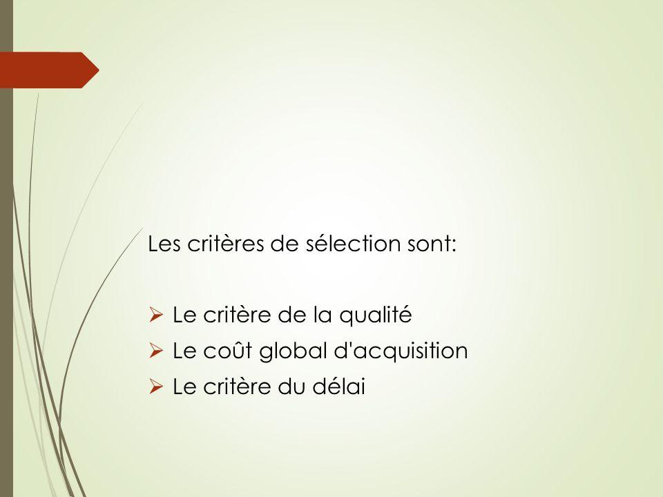 Les critères de sélection sont: