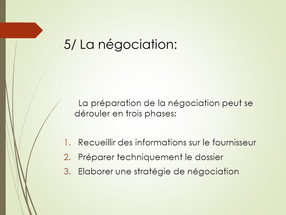 5/ La négociation: La préparation de la négociation peut se dérouler en trois phases: Recueillir des informations sur le fournisseur.