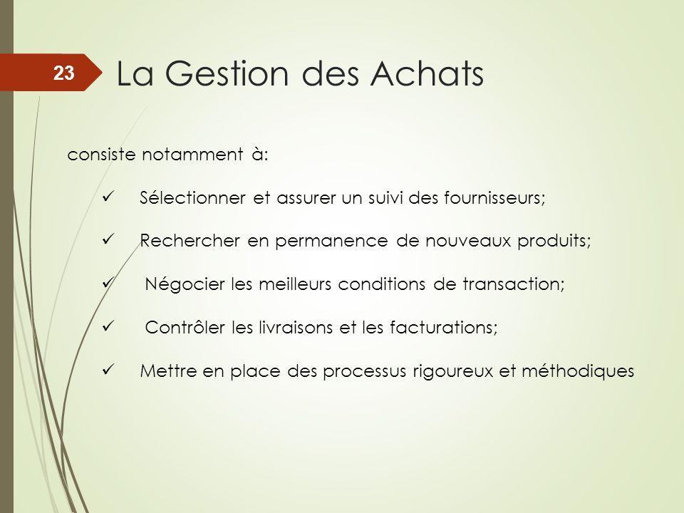 La Gestion des Achats consiste notamment à: