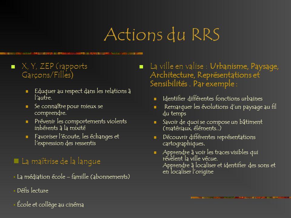 Actions du RRS La maîtrise de la langue