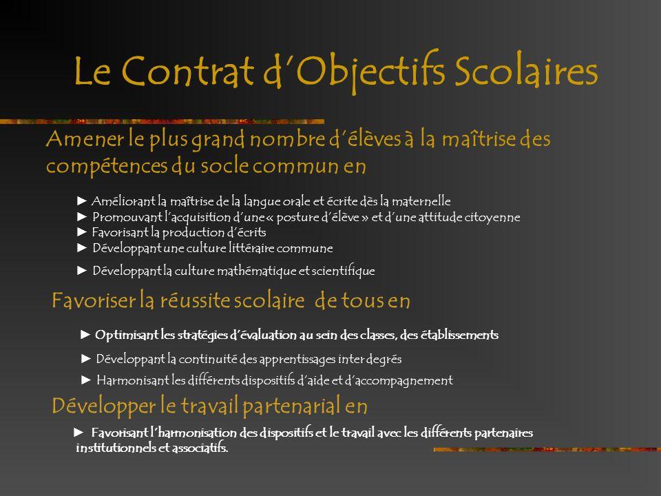 Le Contrat d'Objectifs Scolaires