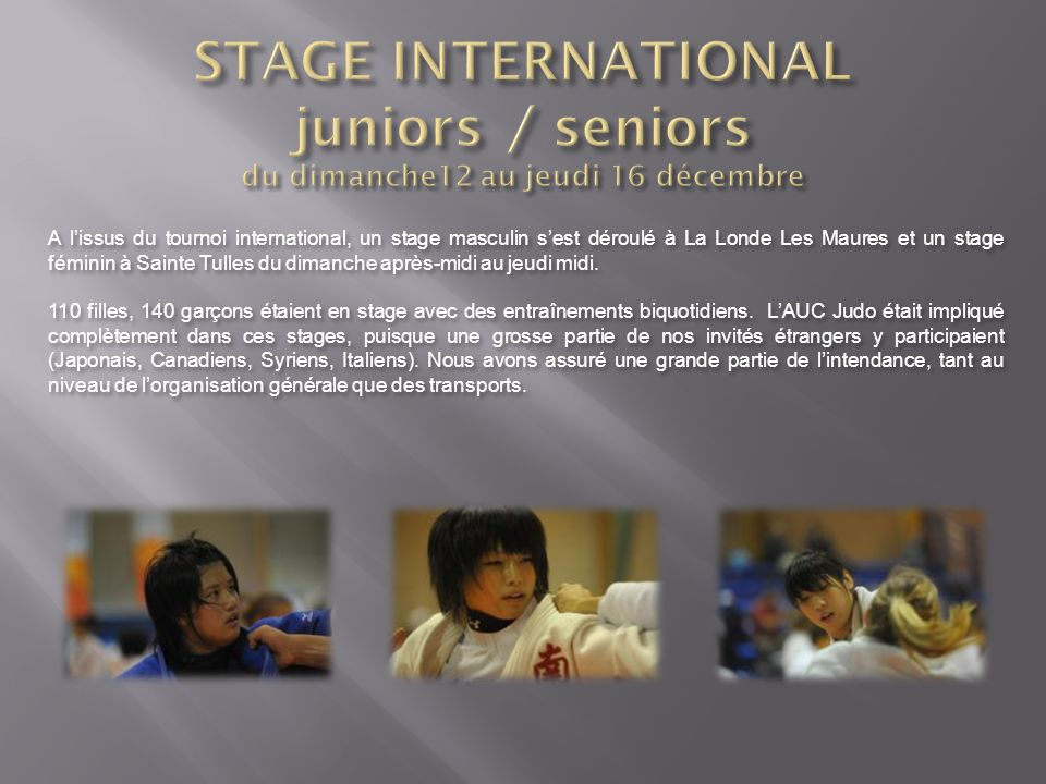 STAGE INTERNATIONAL juniors / seniors du dimanche12 au jeudi 16 décembre