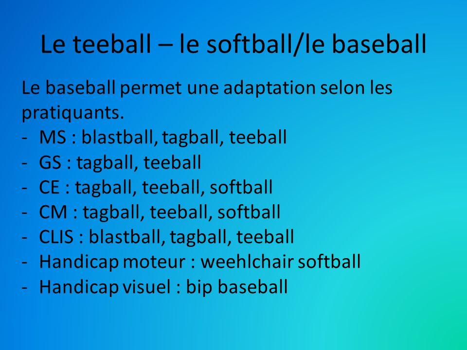 Le teeball – le softball/le baseball