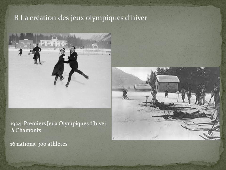 B La création des jeux olympiques d'hiver
