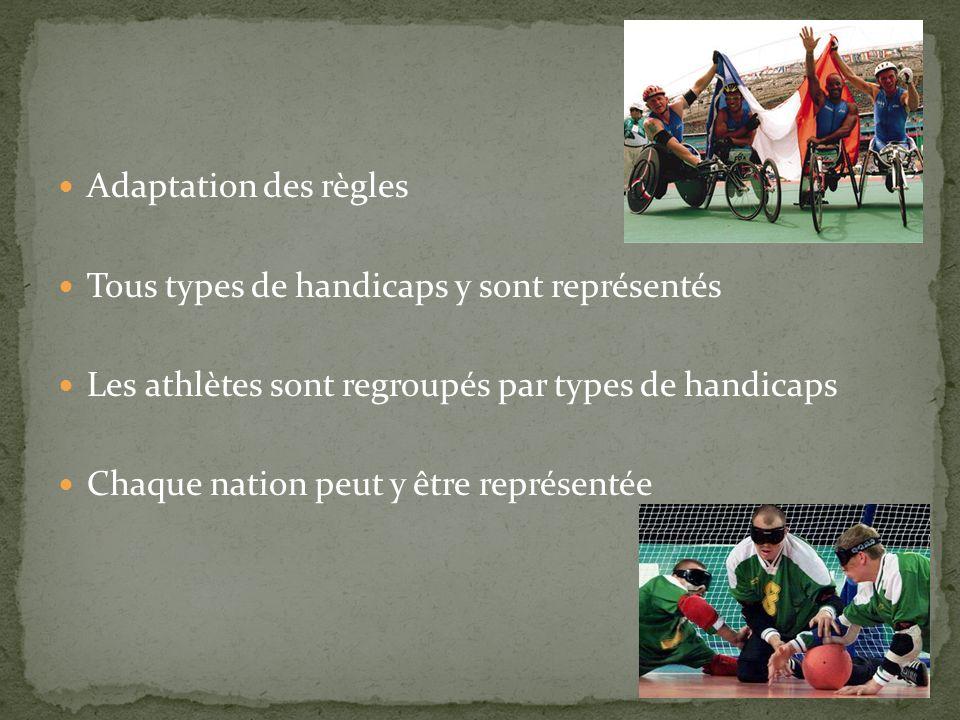 Adaptation des règles Tous types de handicaps y sont représentés. Les athlètes sont regroupés par types de handicaps.