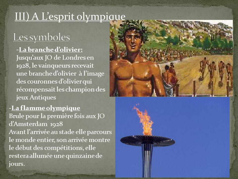 Les symboles III) A L'esprit olympique La branche d'olivier:
