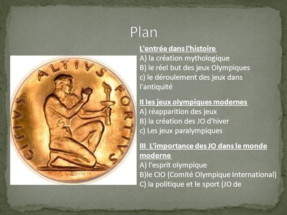 Plan L entrée dans l histoire A) la création mythologique