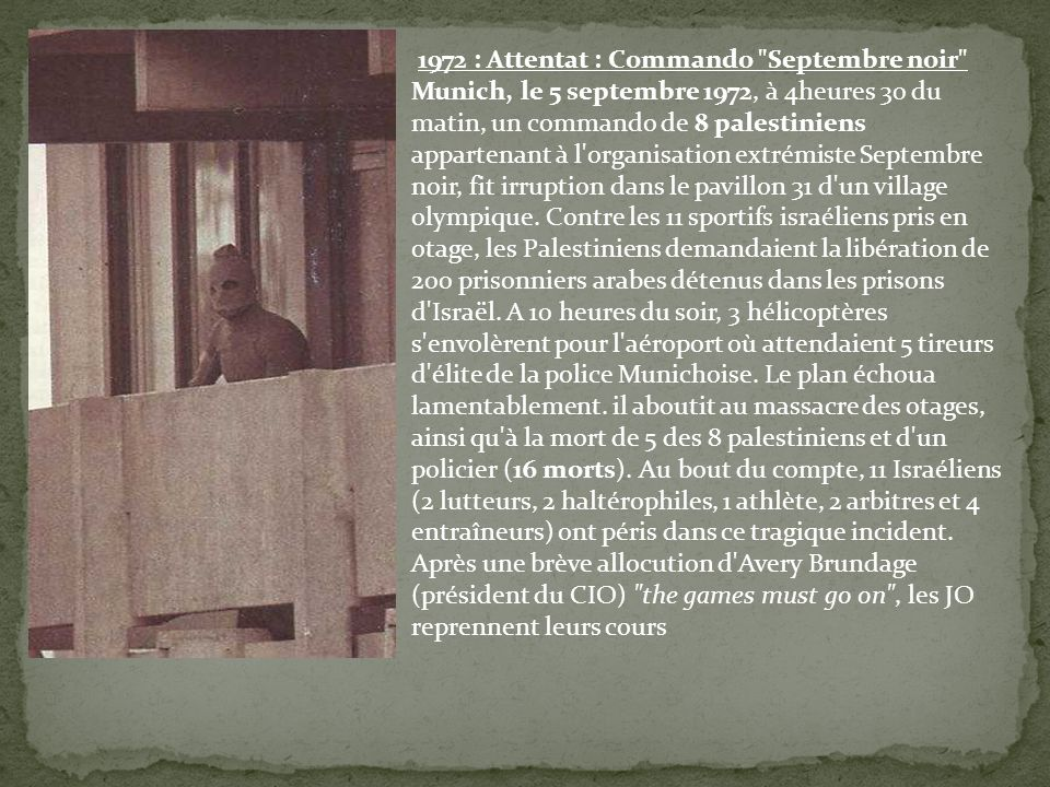 1972 : Attentat : Commando Septembre noir