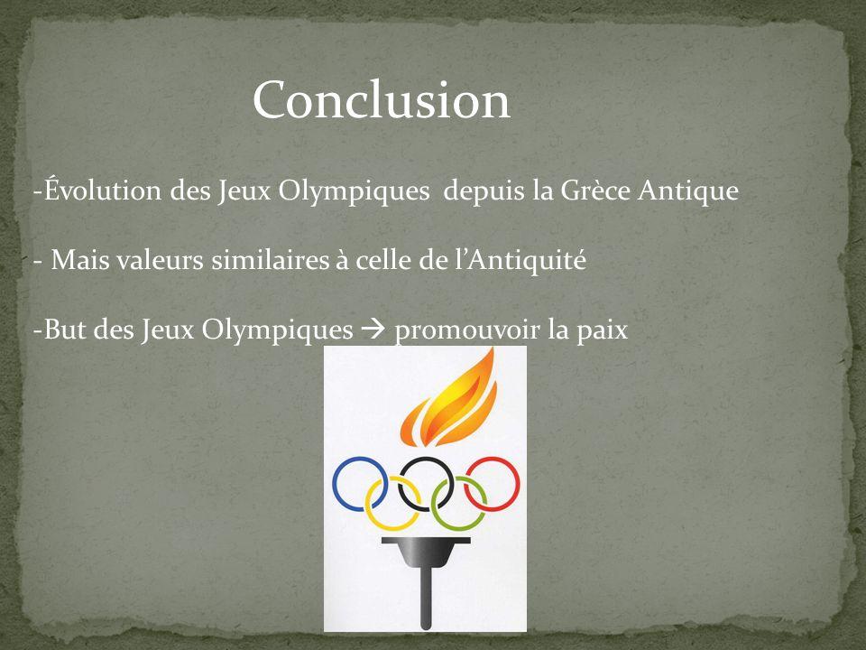 Conclusion Évolution des Jeux Olympiques depuis la Grèce Antique