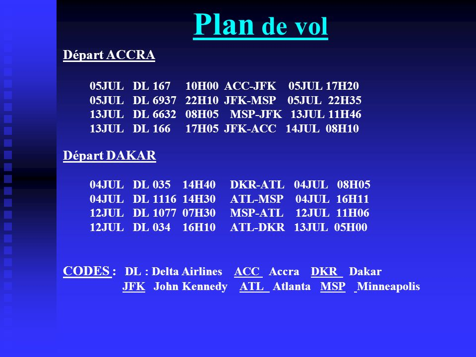 Plan de vol Départ ACCRA Départ DAKAR