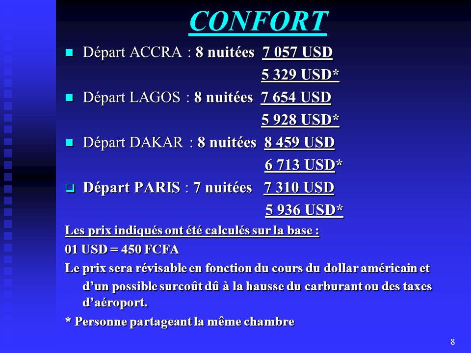 CONFORT Départ ACCRA : 8 nuitées 7 057 USD 5 329 USD*