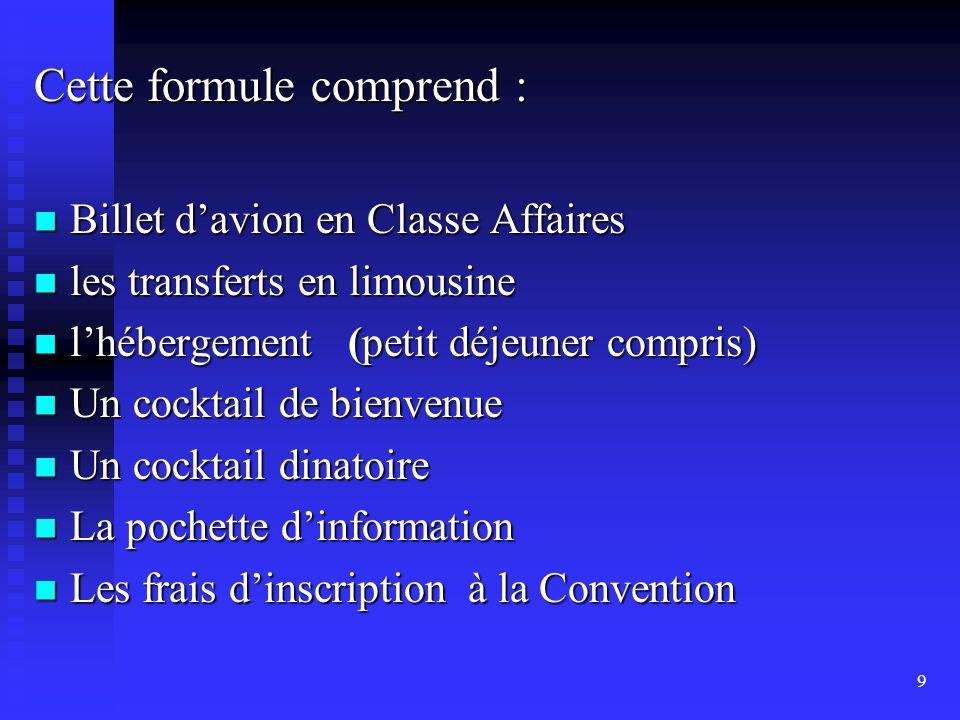 . Cette formule comprend : Billet d'avion en Classe Affaires