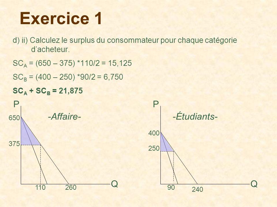 Exercice 1 P P -Affaire- -Étudiants- Q Q