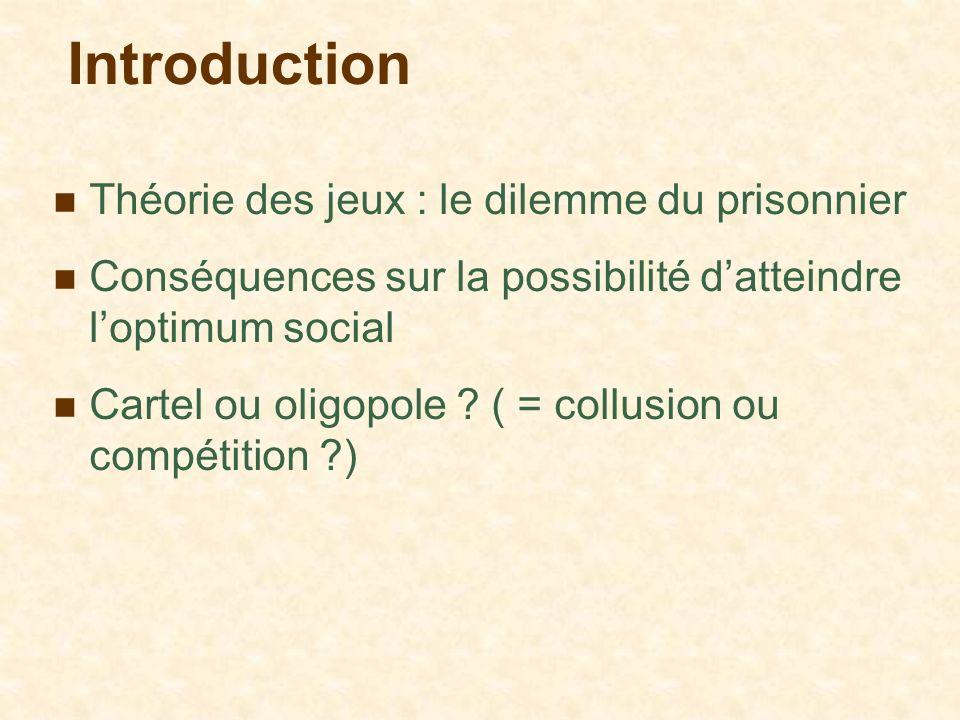 Introduction Théorie des jeux : le dilemme du prisonnier