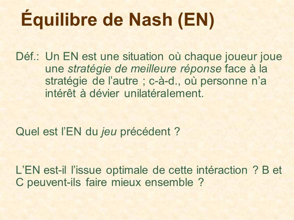 Équilibre de Nash (EN)