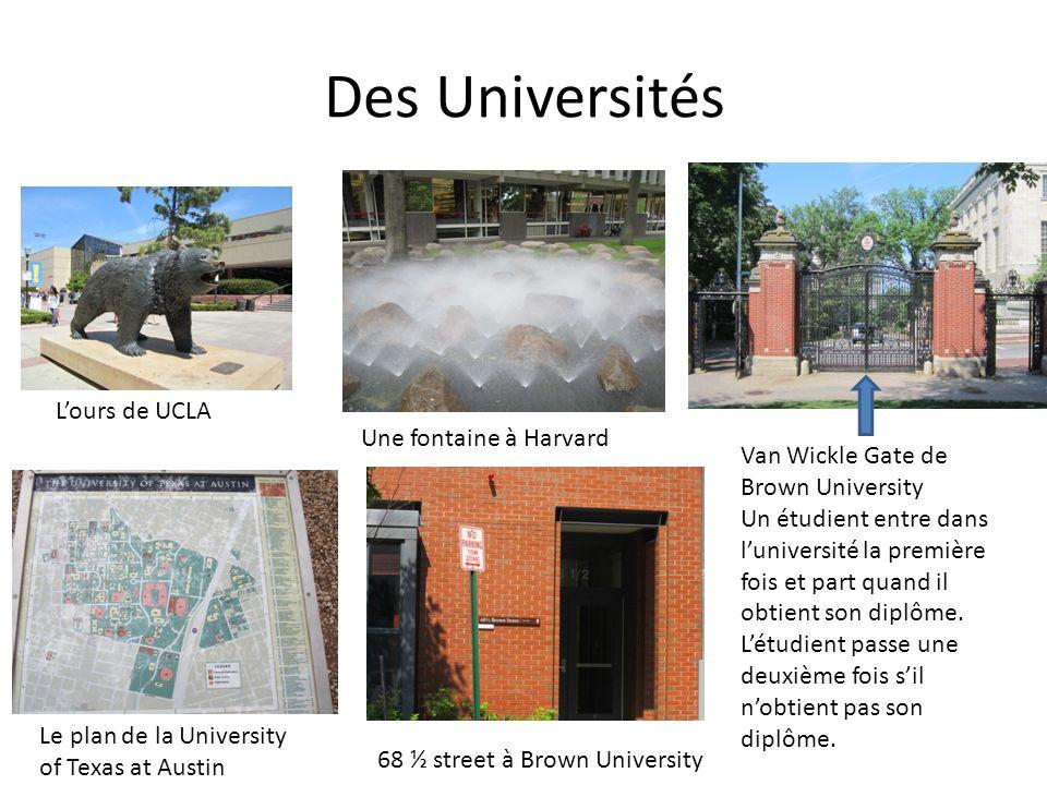 Des Universités L'ours de UCLA Une fontaine à Harvard