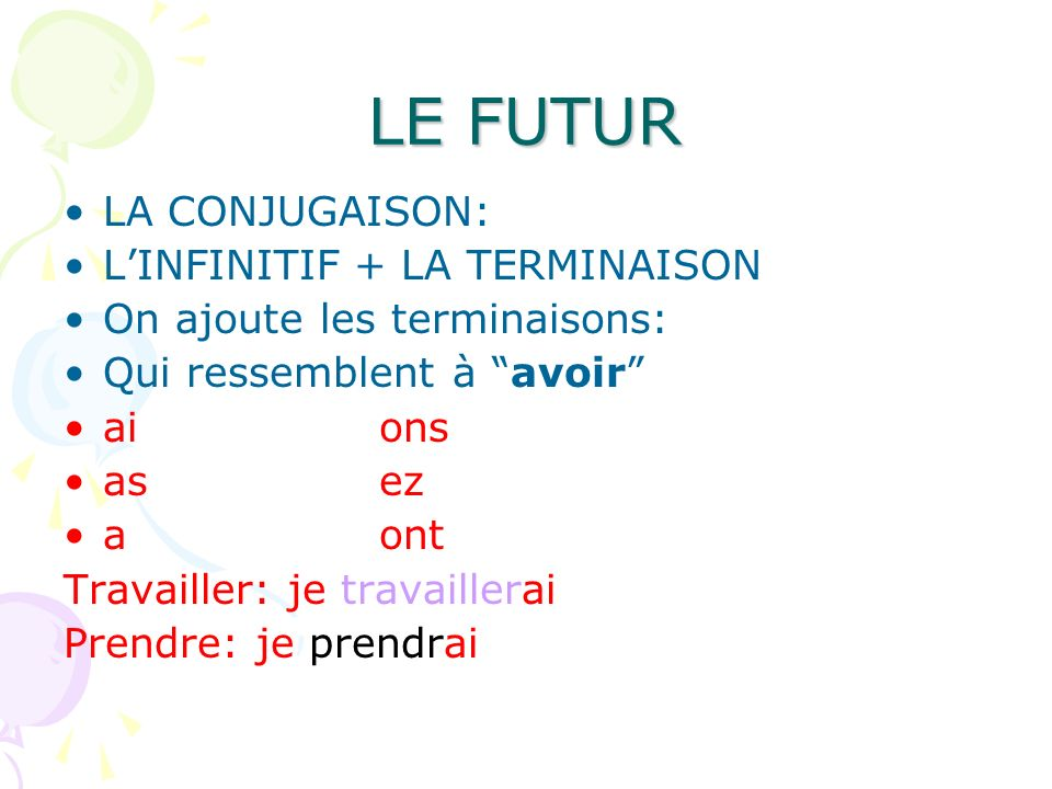 LE FUTUR LA CONJUGAISON: L'INFINITIF + LA TERMINAISON