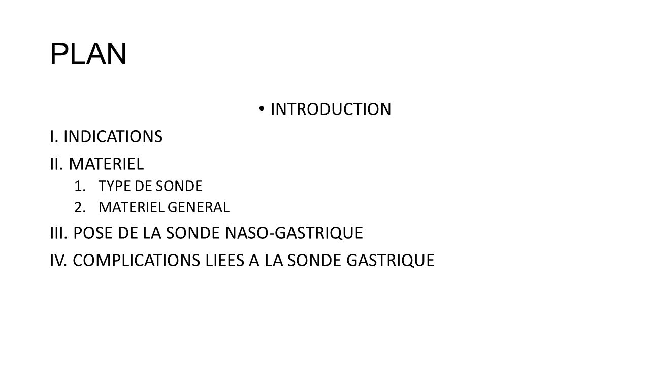 PLAN INTRODUCTION I. INDICATIONS II. MATERIEL