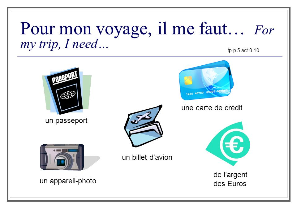 Pour mon voyage, il me faut… For my trip, I need…