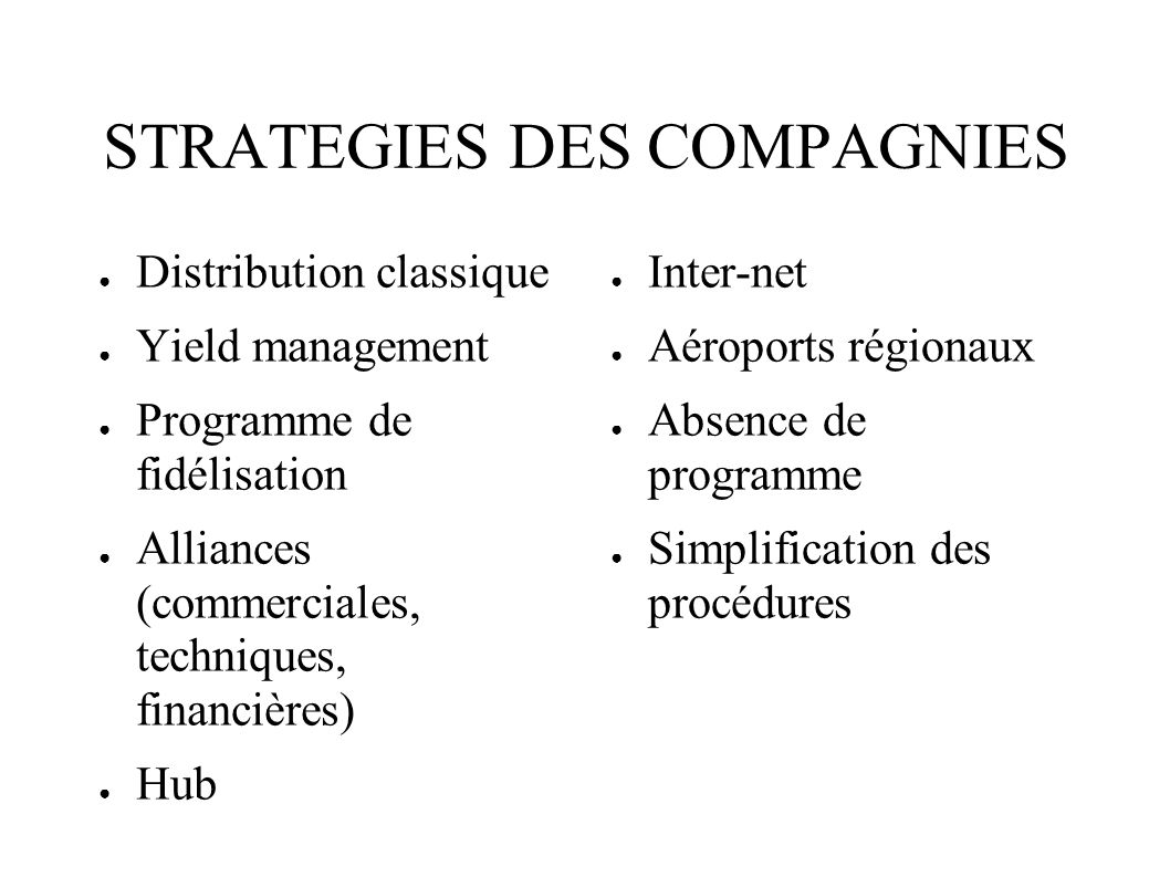 STRATEGIES DES COMPAGNIES