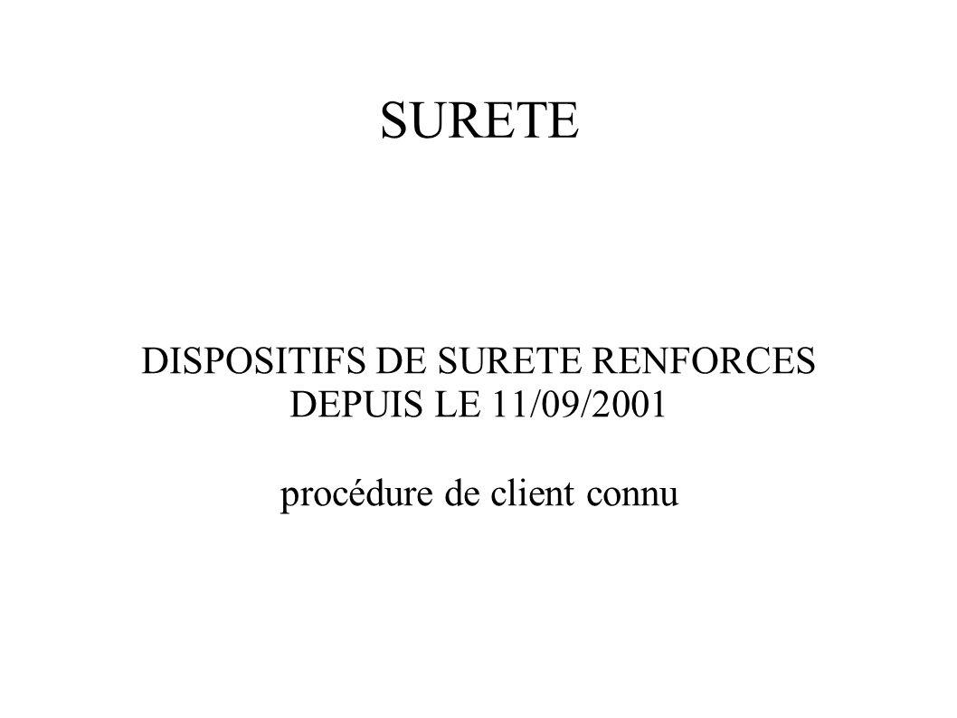 SURETE DISPOSITIFS DE SURETE RENFORCES DEPUIS LE 11/09/2001