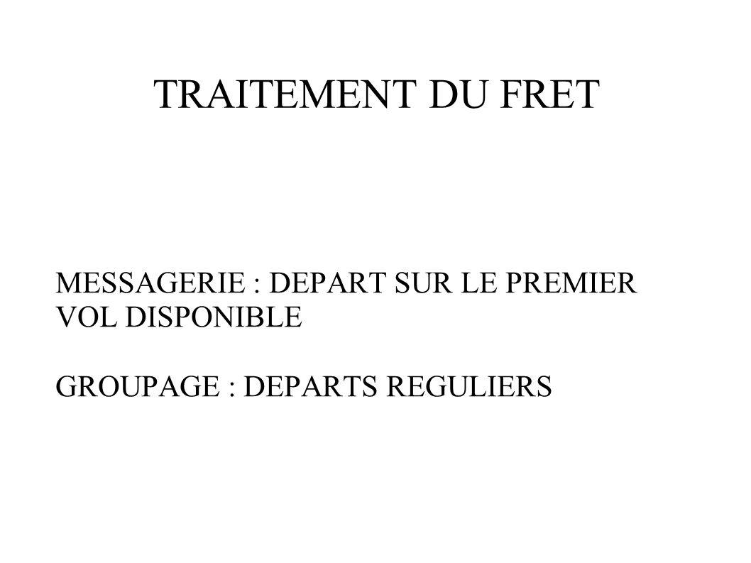 TRAITEMENT DU FRET MESSAGERIE : DEPART SUR LE PREMIER VOL DISPONIBLE