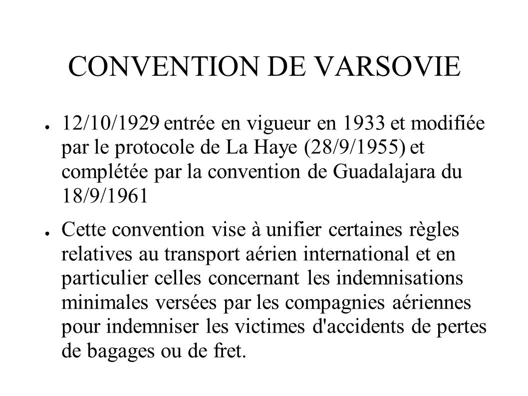 CONVENTION DE VARSOVIE