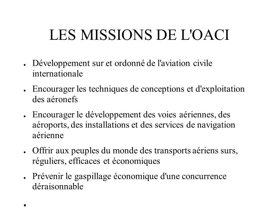 LES MISSIONS DE L OACI Développement sur et ordonné de l aviation civile internationale.